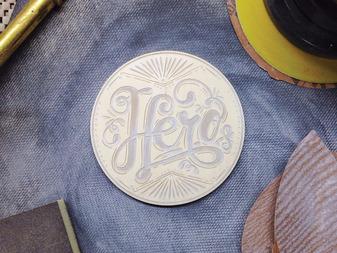 Hero - Engraved Wooden Coaster Process